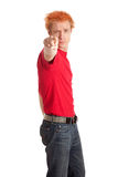 Young Man in Red Shirt Stock Photography