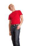 Young Man in Red Shirt Royalty Free Stock Photography