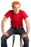 Young Man in Red Shirt Stock Photos