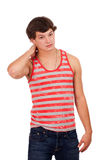 Young man in red and white striped shirt and jeans Stock Image