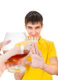 Young Man refuse an Alcohol. Young Man with a Fruit Juice deny an Alcohol Isolated on the White Background stock images