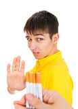 Young Man refuse a Cigarette. S Isolated on the White Background Royalty Free Stock Photography