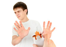 Young Man refuse a Cigarette. Young Man refuse Cigarettes Isolated on the White Background stock images