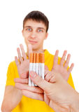 Young Man refuse a Cigarette. S Isolated on the White Background Royalty Free Stock Photo