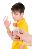 Young Man refuse a Cigarettes. Isolated on the White Background Stock Photography