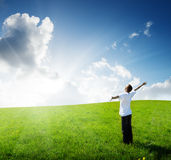 Young man relax on the field royalty free stock photography