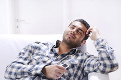 Young man in relax  listening music Stock Image