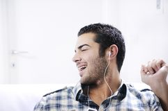 Young man in relax  listening music Royalty Free Stock Photos