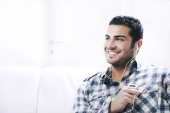Young man in relax  listening music Stock Photos