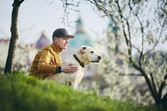 Young man relaxation with dog in public park royalty free stock photography
