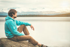 Young Man relaxing alone outdoor Lifestyle Travel Stock Images