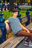 Young Man Relaxing At Central Park, New York Royalty Free Stock Image