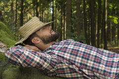 Young man relaxing in nature Stock Photos