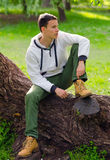 Young man relaxing in the park Stock Photography