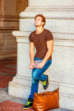 Young Man Relaxing on Street. Stock Photography