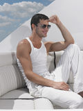 Young Man Relaxing On Yacht Stock Image