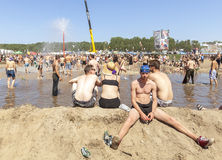 Free Young Man Resting At The Mud Pool. Stock Photo - 57566580