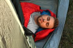Free Young Man Resting In Sleeping Bag Inside Camping Tent Royalty Free Stock Images - 160771509
