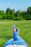 Young man resting in the park Royalty Free Stock Photography