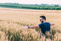 Young man resting in the wheat field Royalty Free Stock Images