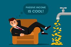 Young man rests and rejoices passive income. From the tap fall gold dollars. The concept of investing and cryptographic. Rising prices for bitcoins. flat stock illustration