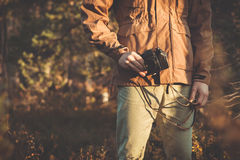 Young Man with retro photo camera outdoor hipster Lifestyle Stock Photography