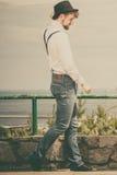 Young man retro style outdoor Stock Photos