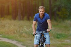 Young man rides on bicycle in pine forest looking at camera. Stock Image
