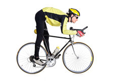 Young man riding a bicycle. Isolated on white background Royalty Free Stock Photos