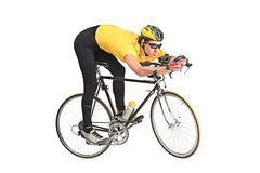 Young man riding a bicycle Stock Photography