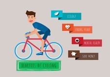 Young man riding a bicycle. The benefits of cycling. Bicycle infographics template. Royalty Free Stock Photography