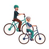 Young man riding bicycle, cycling together with his teenage son. Cartoon vector illustration isolated on white background. Full length, side view portrait of Royalty Free Stock Photos
