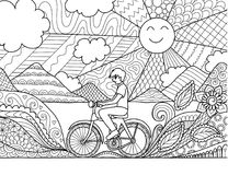 Young man riding bicycle happily in beautiful nature for adult coloring book page and other design element. Vector illustration Royalty Free Stock Photo