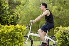 Young man riding on the bicycle on the pathway. Royalty Free Stock Photos