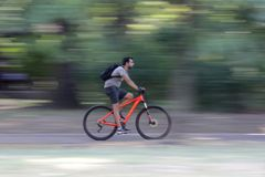 Young man riding a bike in the park Stock Images