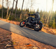 Young man riding chopper on road in forest Royalty Free Stock Photo
