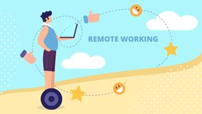Young Man Riding Hoverboard with Laptop in Hands royalty free illustration