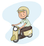 Young man riding scooter Stock Images