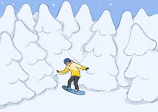 A young man riding a snowboard amongst the snow-covered trees. Snowboarding, extreme sport, active recreation. Vector. A young man riding a snowboard amongst the Royalty Free Stock Photography