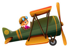 A young man riding on a vintage plane Stock Photos