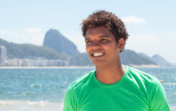 Young man from Rio de Janeiro at Copacabana beach Royalty Free Stock Photos