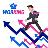 Male manager runs up the arrows vector illustration