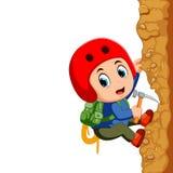 Young man rock climber Stock Photos