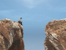 Young man on a rock in front of a chasm. This is a 3d render illustration Stock Image