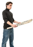 Young man with roll of blueprints Royalty Free Stock Photo