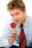 Young man with rose Stock Image
