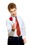 Young man with rose Royalty Free Stock Images