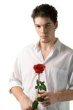 Young man with rose Stock Photo