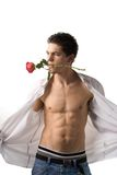 Young man with rose Royalty Free Stock Photo