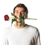 Young man with rose Stock Photography